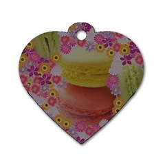 Macaroons And Floral Delights Dog Tag Heart (two Sides) by LovelyDesigns4U