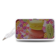 Macaroons and Floral Delights Portable Speaker (White)  by LovelyDesigns4U