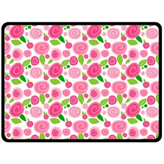 Rose Garden Double Sided Fleece Blanket (large) by TrishRose