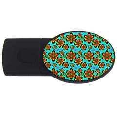 Neon Retro Flowers Aqua USB Flash Drive Oval (1 GB)  by MoreColorsinLife