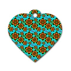 Neon Retro Flowers Aqua Dog Tag Heart (one Side) by MoreColorsinLife