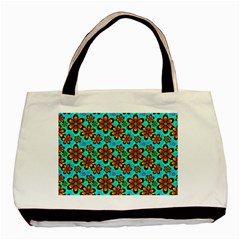 Neon Retro Flowers Aqua Basic Tote Bag (two Sides)  by MoreColorsinLife
