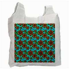 Neon Retro Flowers Aqua Recycle Bag (one Side) by MoreColorsinLife