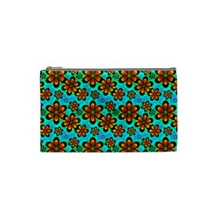 Neon Retro Flowers Aqua Cosmetic Bag (small)  by MoreColorsinLife