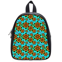 Neon Retro Flowers Aqua School Bags (small)  by MoreColorsinLife