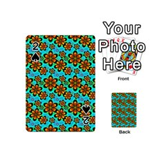 Neon Retro Flowers Aqua Playing Cards 54 (mini)  by MoreColorsinLife
