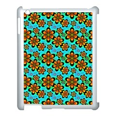 Neon Retro Flowers Aqua Apple Ipad 3/4 Case (white) by MoreColorsinLife