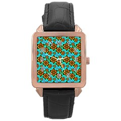 Neon Retro Flowers Aqua Rose Gold Watches by MoreColorsinLife