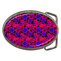 Neon Retro Flowers Pink Belt Buckles by MoreColorsinLife
