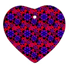 Neon Retro Flowers Pink Heart Ornament (2 Sides) by MoreColorsinLife