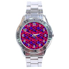 Neon Retro Flowers Pink Stainless Steel Men s Watch by MoreColorsinLife