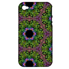 Repeated Geometric Circle Kaleidoscope Apple Iphone 4/4s Hardshell Case (pc+silicone) by canvasngiftshop