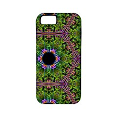 Repeated Geometric Circle Kaleidoscope Apple Iphone 5 Classic Hardshell Case (pc+silicone) by canvasngiftshop