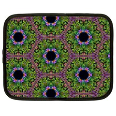 Repeated Geometric Circle Kaleidoscope Netbook Case (xl)  by canvasngiftshop