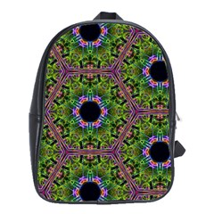Repeated Geometric Circle Kaleidoscope School Bags(large)  by canvasngiftshop