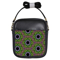 Repeated Geometric Circle Kaleidoscope Girls Sling Bags by canvasngiftshop