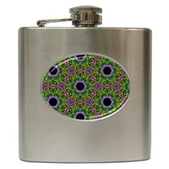 Repeated Geometric Circle Kaleidoscope Hip Flask (6 Oz) by canvasngiftshop