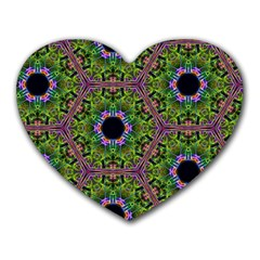 Repeated Geometric Circle Kaleidoscope Heart Mousepads by canvasngiftshop