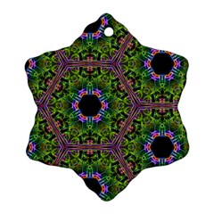 Repeated Geometric Circle Kaleidoscope Snowflake Ornament (2 Side) by canvasngiftshop