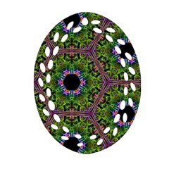 Repeated Geometric Circle Kaleidoscope Oval Filigree Ornament (2 Side)  by canvasngiftshop