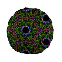 Repeated Geometric Circle Kaleidoscope Standard 15  Premium Round Cushions by canvasngiftshop