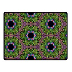 Repeated Geometric Circle Kaleidoscope Double Sided Fleece Blanket (small)  by canvasngiftshop