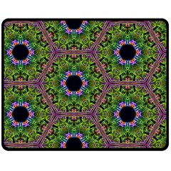 Repeated Geometric Circle Kaleidoscope Double Sided Fleece Blanket (medium)  by canvasngiftshop