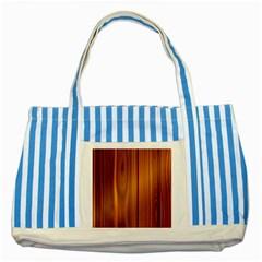 Shiny Striated Panel Striped Blue Tote Bag