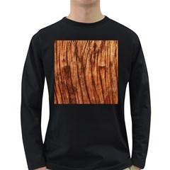 Old Brown Weathered Wood Long Sleeve Dark T Shirts by trendistuff