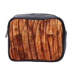 Old Brown Weathered Wood Mini Toiletries Bag 2 Side by trendistuff