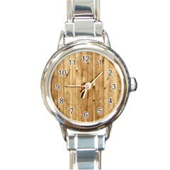Light Wood Fence Round Italian Charm Watches by trendistuff