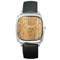 Light Wood Fence Square Metal Watches by trendistuff