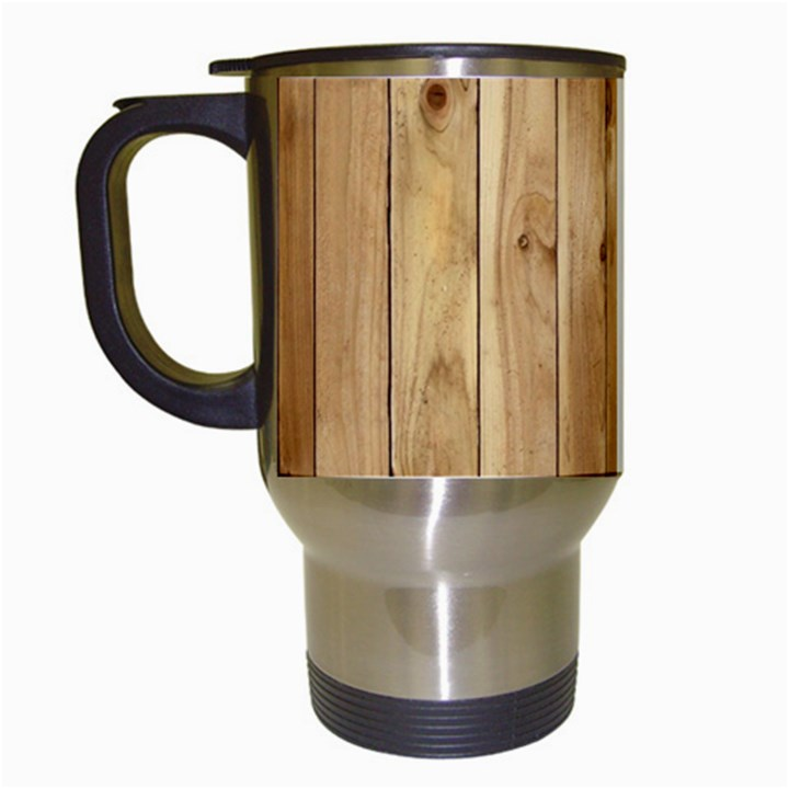 LIGHT WOOD FENCE Travel Mugs (White)