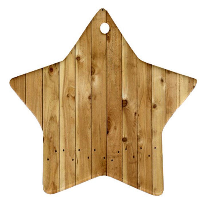 LIGHT WOOD FENCE Star Ornament (Two Sides)