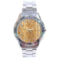 Light Wood Fence Stainless Steel Men s Watch by trendistuff