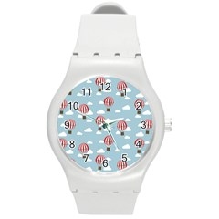 Hot Air Balloon Round Plastic Sport Watch (m) by Kathrinlegg