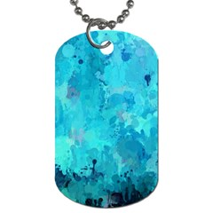 Splashes Of Color, Aqua Dog Tag (two Sides) by MoreColorsinLife