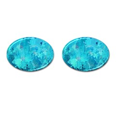 Splashes Of Color, Aqua Cufflinks (oval) by MoreColorsinLife