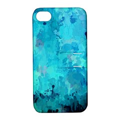 Splashes Of Color, Aqua Apple Iphone 4/4s Hardshell Case With Stand by MoreColorsinLife