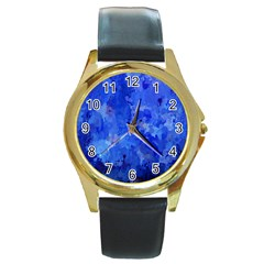 Splashes Of Color, Blue Round Gold Metal Watches by MoreColorsinLife
