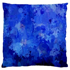 Splashes Of Color, Blue Large Flano Cushion Cases (one Side)  by MoreColorsinLife