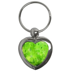 Splashes Of Color, Green Key Chains (Heart)  by MoreColorsinLife