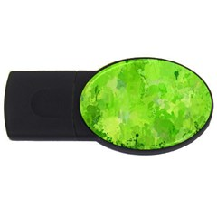 Splashes Of Color, Green Usb Flash Drive Oval (2 Gb)  by MoreColorsinLife