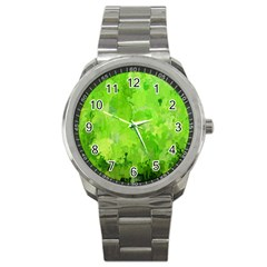 Splashes Of Color, Green Sport Metal Watches by MoreColorsinLife