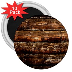 Dark Stained Wood Wall 3  Magnets (10 Pack)  by trendistuff