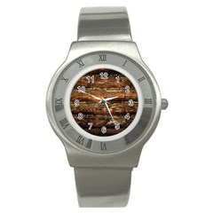 Dark Stained Wood Wall Stainless Steel Watches by trendistuff