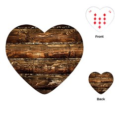 Dark Stained Wood Wall Playing Cards (heart)  by trendistuff