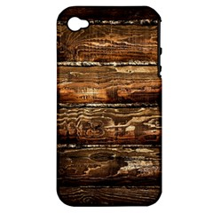 Dark Stained Wood Wall Apple Iphone 4/4s Hardshell Case (pc+silicone) by trendistuff