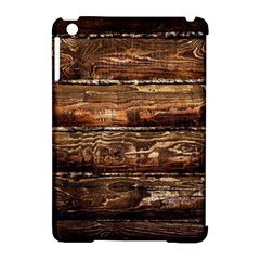 Dark Stained Wood Wall Apple Ipad Mini Hardshell Case (compatible With Smart Cover) by trendistuff
