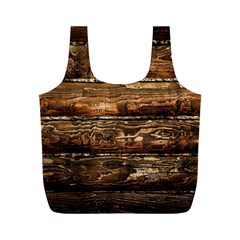 Dark Stained Wood Wall Full Print Recycle Bags (m)  by trendistuff